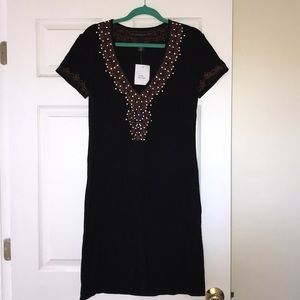 NWT V Neck Black Embellished & Embroidered Dress